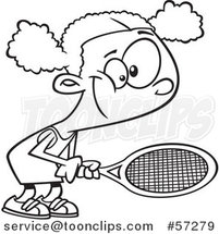 Cartoon Outline Black Girl Playing Tennis by Ron Leishman