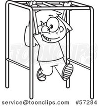 Cartoon Outline School Girl Playing on Playground Monkey Bars by Ron Leishman