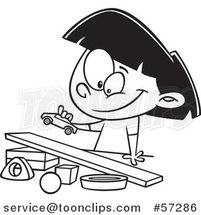 Cartoon Outline Girl Playing with a Toy Car and Ramp by Ron Leishman