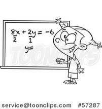 Cartoon Outline School Girl Solfing a Math Equation on a Chalk Board by Ron Leishman