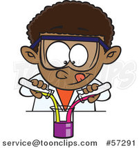 Cartoon Black School Boy Mixing Chemicals in Science Class by Ron Leishman