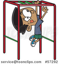 Cartoon Indian Boy Playing on Playground Monkey Bars by Ron Leishman