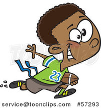 Cartoon Black Boy Playing Flag Football by Ron Leishman
