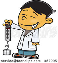 Cartoon Asian School Boy Holding a Spring Scale by Ron Leishman