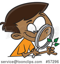 Cartoon Happy Black Boy Observing a Plant Through a Magnifying Glass by Toonaday