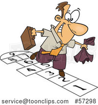 Cartoon White Businessman Playing Hopscotch by Toonaday