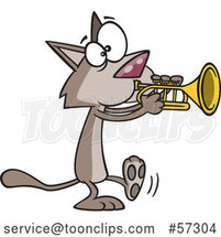 Cartoon Cat Playing a Trumpet by Toonaday
