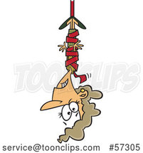 Cartoon White Businesswoman Hanging from Red Tape by Toonaday