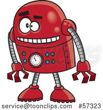 Cartoon Red Robot Leaning by Toonaday
