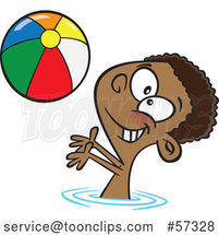 Cartoon Black Boy Playing with a Beach Ball in a Swimming Pool by Toonaday