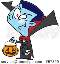 Cartoon Vampire Boy Trick or Treating on Halloween by Toonaday