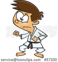 Cartoon White Karate Boy in a Fighting Stance by Toonaday