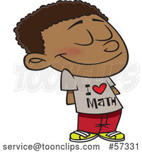 Cartoon Black School Boy Wearing an I Love Math Shirt by Toonaday