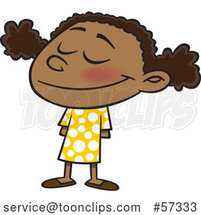 Cartoon Happy Black School Girl Smiling by Toonaday