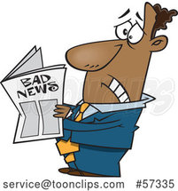 Cartoon Black Business Man Reading Bad News by Toonaday