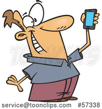 Cartoon White Guy Holding up a Smart Phone and Taking a Selfie by Toonaday