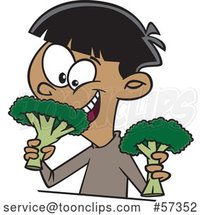 Cartoon Happy Boy Eating Broccoli by Toonaday