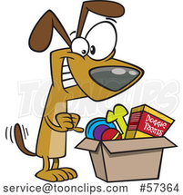 Happy Cartoon Dog Wagging His Tail and Looking in a Surprise Box by Toonaday