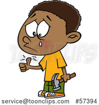 Cartoon Black Boy Crying After Banging His Thumb with a Hammer by Toonaday