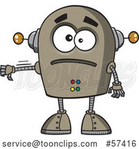 Cartoon Sad Robot Giving a Thumb down by Toonaday