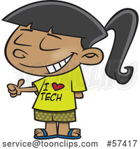 Cartoon Girl Wearing an I Love Tech Shirt and Giving a Thumb up by Toonaday