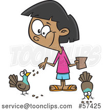 Cartoon Girl Feeding Pigeon Birds by Toonaday