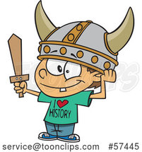 Cartoon White Boy Wearing a Viking Helmet and I Love History Shirt by Toonaday