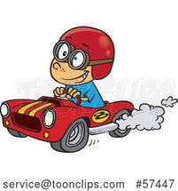 Cartoon White Boy Driving a Race Car by Toonaday