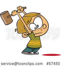 Cartoon White Boy Swinging a Hammer up by Toonaday