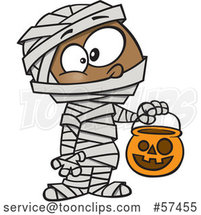 Cartoon Black Boy in a Mummy Halloween Costume by Toonaday