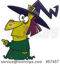 Cartoon Warty Witch Pointing by Toonaday
