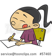 Cartoon Asian School Girl Writing an Essay by Toonaday
