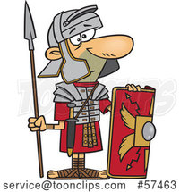 Cartoon Roman Soldier with a Shield and Spear by Toonaday