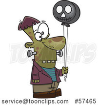 Cartoon Frankenstein Holding Black Balloons by Toonaday