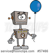 Cartoon Birthday Robot Holding a Blue Balloon by Toonaday