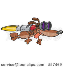 Cartoon Dog Flying with a Rocket on His Back by Toonaday