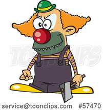 Cartoon Scary Clown Holding an Axe by Toonaday