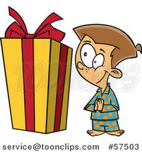 Cartoon of Curious Boy Looking at a Large Christmas Present by Toonaday