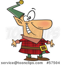 Cartoon of Happy Christmas Elf in a Red Plaid Suit by Toonaday