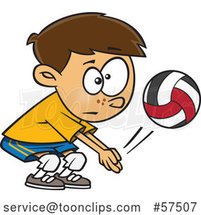 Cartoon White Boy Playing Volleyball by Toonaday