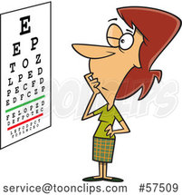 Cartoon White Lady Trying to Read an Eye Chart by Toonaday