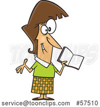 Cartoon Happy White Female Teacher Holding a Book by Toonaday