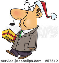 Cartoon of Whistling Man Wearing a Santa Hat and Carrying a Christmas Gift by Toonaday