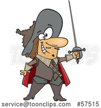 Cartoon Musketeer Holding a Sword by Toonaday