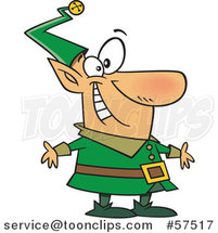 Cartoon of Happy Christmas Elf in a Green Suit by Toonaday