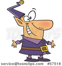 Cartoon of Happy Christmas Elf in a Purple Suit by Toonaday