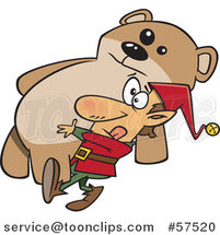 Cartoon of Christmas Elf Carrying a Giant Teddy Bear by Toonaday