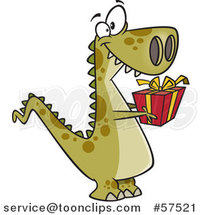 Cartoon of T-Rex Dinosaur Holding out a Christmas Gift by Toonaday