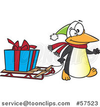 Cartoon of Penguin Pulling a Christmas Present on a Sled by Toonaday