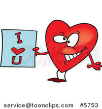 Cartoon Heart Holding an I Love You Sign by Toonaday